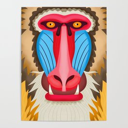Baboon Head Poster