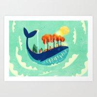:::Tall Tree Whale::: Art Print