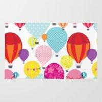 hot air balloons Area & Throw Rugs featuring Hot air balloons by Tat Georgieva