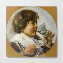 "Frans Hals ""Boy with a glass and a tin can"" Metal Print"