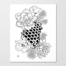 Succulents & Honeycomb Canvas Print