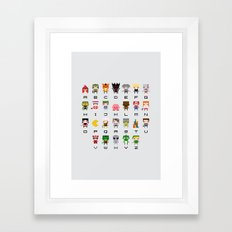 Video Games Pixel Alphabet Framed Art Print