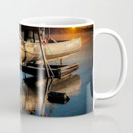 Aluminum Fishing Boat at Sunrise on Stony Lake Coffee Mug