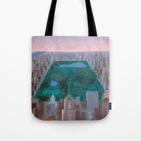 central park Tote Bags featuring central park by cityclectic design
