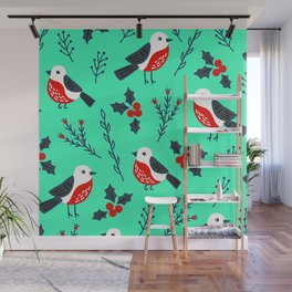 Christmas Holidays Bird Pattern With Holly Sprigs Wall Mural