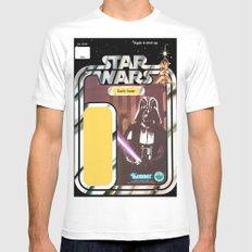Darth Vader Vintage Action Figure Card MEDIUM Mens Fitted Tee White