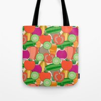 vegetables Tote Bags featuring Vegetables by Valendji