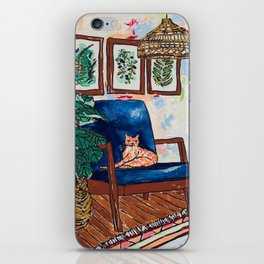 Ginger Cat on Blue Mid Century Chair Painting iPhone Skin