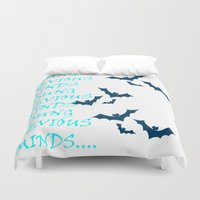 bats Duvet Covers featuring Bats by Young Devious Minds
