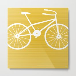 Yellow Bike by Friztin Metal Print
