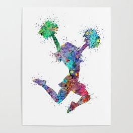 Cheerleader Art Girl Cheerleader Gifts Watercolor Print Sports Art Poster