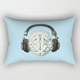Mind Music Connection /3D render of human brain wearing headphones Rectangular Pillow