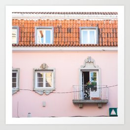 Pink House in Cascais Art Print