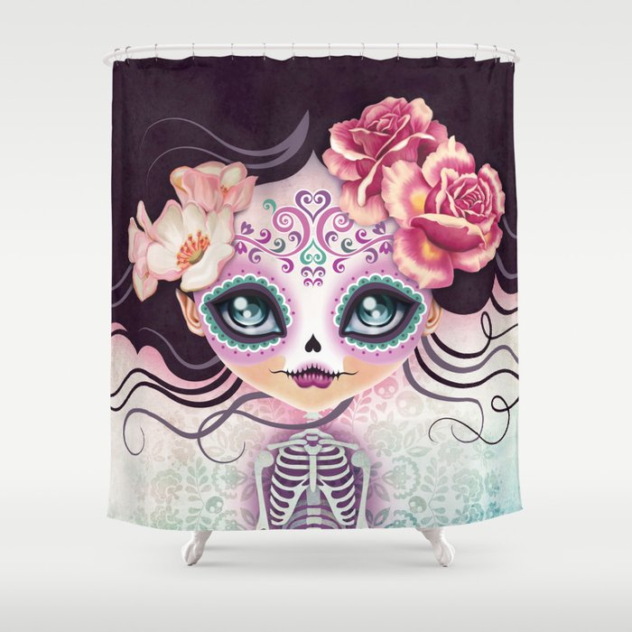 Camila Huesitos - Sugar Skull Shower Curtain by sandygrafik | Society6