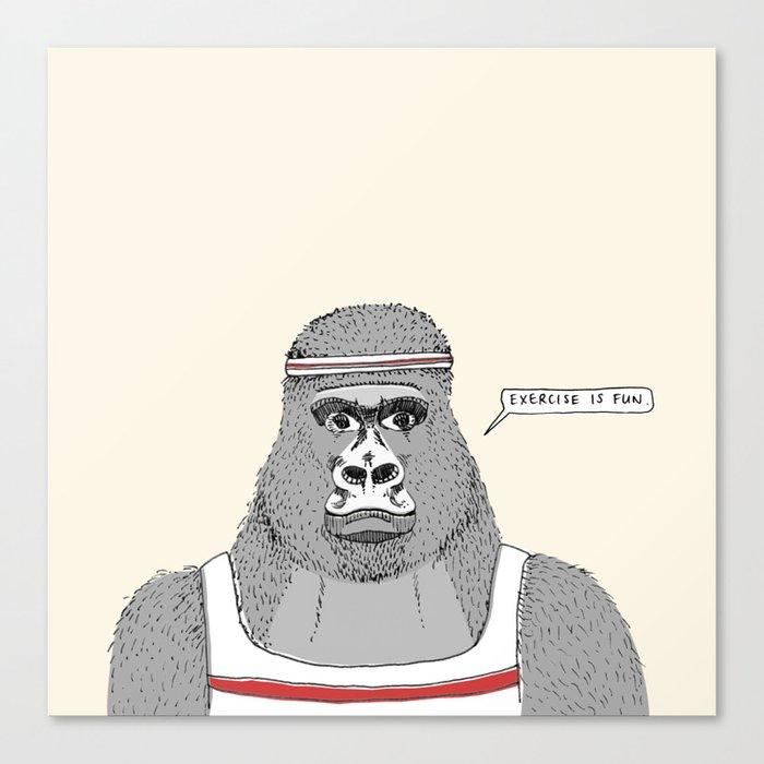 Gorillas love exercise Canvas Print