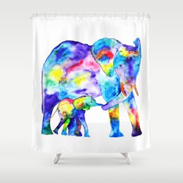 Colorful family elephants Shower Curtain