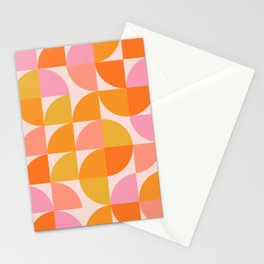 Mid Century Mod Geometry in Pink and Orange Stationery Cards