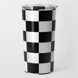 BLACK AND WHITE SQUARES Abstract Art Travel Mug