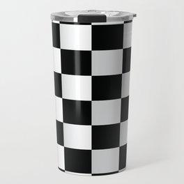 BLACK AND WHITE SQUARES Abstract Art Travel Mug