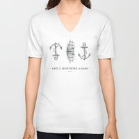 sailboat V-neck T-shirts featuring Anchor & Sailboat by fjopus7