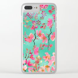Elegant hand paint watercolor spring floral Clear iPhone Case