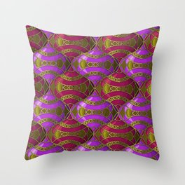 Christmas Ornament Tessellation in Red Throw Pillow