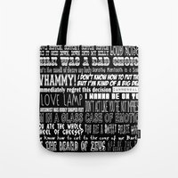 anchorman Tote Bags featuring Anchorman Love by Jamizzle