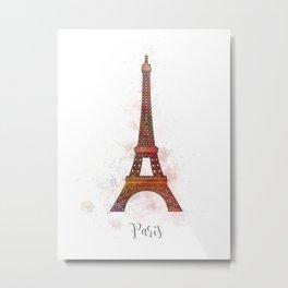 Paris landmark with watercolor splatters Metal Print