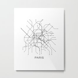 Paris Metro Map Subway Map Paris Metro Graphic Design Black And White Canvas Metropolian Art Metal Print
