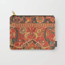 Red Arabic Rug I // 17th Century Colorful Firey Red Light Teal Sapphire Navy Blue Ornate Pattern Carry-All Pouch