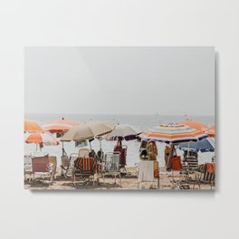 Pastel vintage people at the beach under parasol | Spain Travel photography | Fine art photo print Metal Print