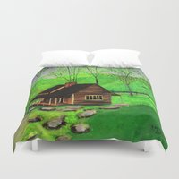 cabin Duvet Covers featuring Hillside cabin by maggs326