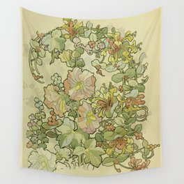 "Alphonse Mucha ""Printed textile design with hollyhocks in foreground"" Wall Tapestry"
