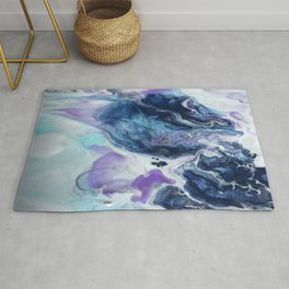 Navy Blue, Teal and Royal Purple Marble Rug