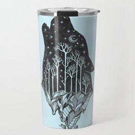 Adventure Wolf - Nature Mountains Wolves Howling Design Black on Turquoise Blue Travel Mug