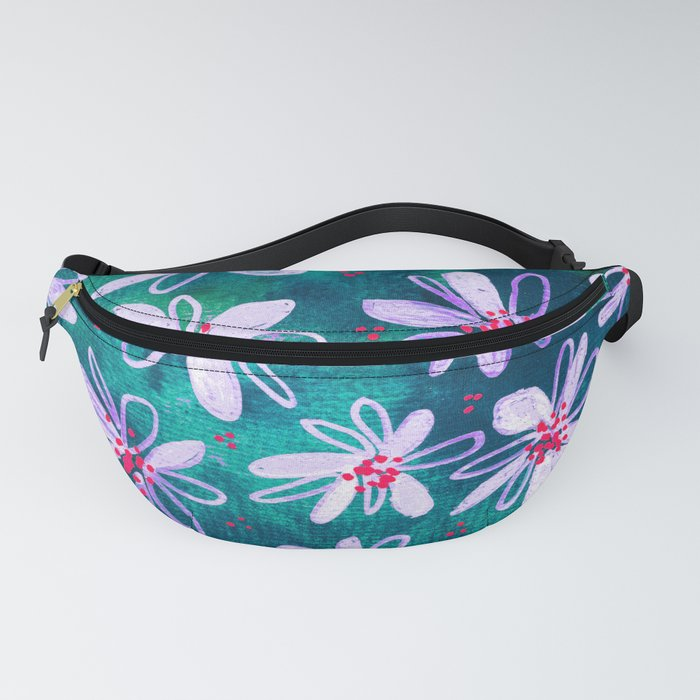 Daisy Flowers | Whimsical Watercolor Daisies on Cyan BlueTeal Fanny Pack