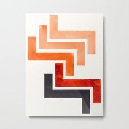 Burnt Sienna Aztec Pattern Mid-century Modern Simple Geometric Pattern Watercolor Minimalist Art Squ Metal Print
