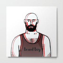 Beard Boy: Red 1 Metal Print