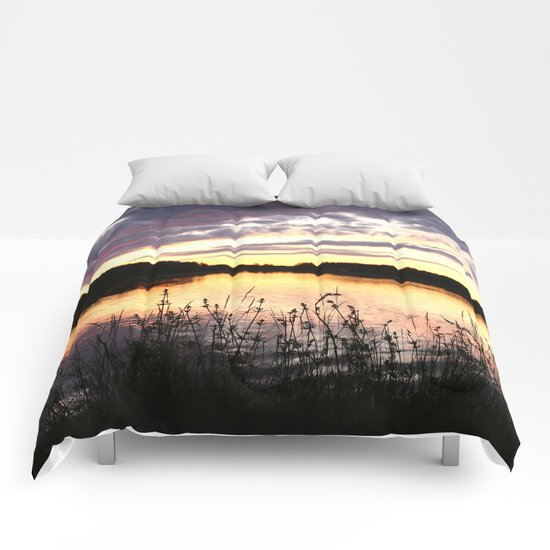 Sunset By The Lake  Comforters