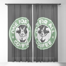 One For All Coffee Sheer Curtain