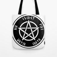 pentagram Tote Bags featuring Pentagram by Urban Monk Store