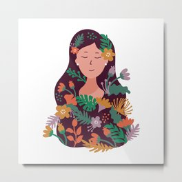 Woman Made Of Flowers Colorful Metal Print