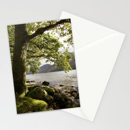 Oak tree on the shore of Buttermere with Haystacks beyond. Lake District, Cumbria, UK Stationery Cards