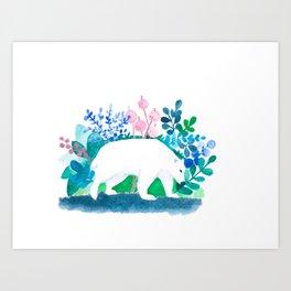 white bear watercolour Art Print
