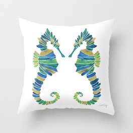 Seahorse – Watercolor & Gold Throw Pillow