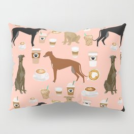 Greyhound coffee dog breed illustration dog art custom dog breeds groundhound rescue dog lovers Pillow Sham