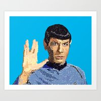 spock Art Prints featuring Spock by Connor Corbett
