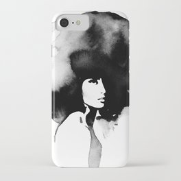 Woman with big haircut iPhone Case