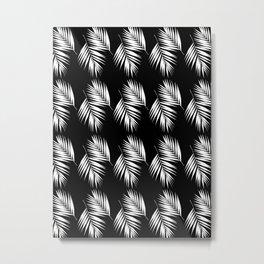 Palm Leaves Pattern #9 #White #Black #decor #art #society6 Metal Print