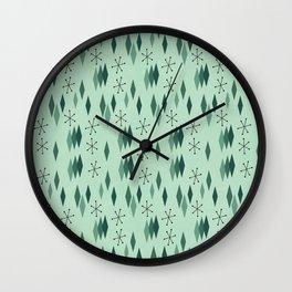 Mid Century Diamonds on Mint Wall Clock